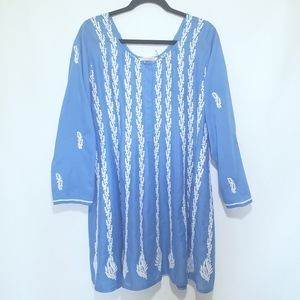 Soft Surroundings Blue Embroidered Dress Size M
